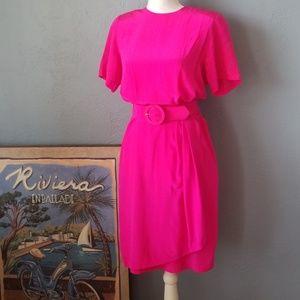 Vintage hot pink fuchsia silk dress